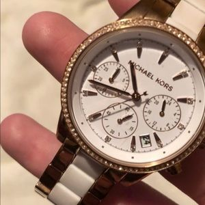 Michael Kors rose gold and white chronograph watch